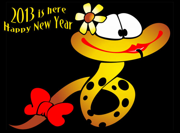 happy new year 2013 the year of bawdy snake